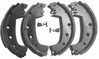 Set of 4 front brake shoes for Renault R4 4L. Manual adjustment.