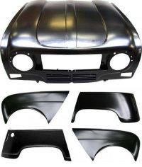 Pack 4 ailes, capot pour Renault R4 4L. Capot pour modèles avec plaque d'immatriculation fixée sur le pare-choc.