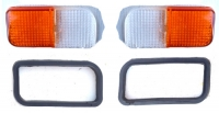 Turn signal lens and rubber seal kit for Renault R4 4L and seals, latest model, new, left and right side.
