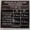 """Sticker """"Tire pressure"""" 175 SR 15."""