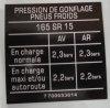 """Sticker """"Tire pressure"""" 165 SR 15."""