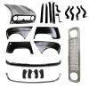 Pack 4 wings/fenders, bonnet for Renault R4 4L, chromed bumpers,black grille mesh, bumper and fittings. Bonnet for models with license plate riveted on it.