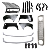Pack 4 wings/fenders, bonnet for Renault R4 4L, painted bumpers,black grille mesh, bumper and fittings. Bonnet for models with license plate riveted on it.