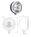 Additional metal headlights for Renault R4 4L or Renault Estafette. With H3 100W bulb.