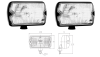 Pair of fog lamps for Renault R4 4L or Renault Estafette, rectangular, with 100W Rally bulb.