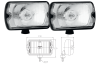 Pair of long-range headlights for Renault R4 4L or Renault Estafette, rectangular, with bulbs 100W H3.