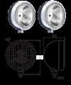 Paire de phares additionnels métal pour Renault R4 4L ou Renault Estafette. Ampoules H3 100W fournies.