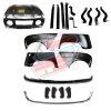 Pack 4 ailes, capot pour Renault R4 4L, pare-chocs chromés, ferrures et butoirs. Capot pour modèles avec plaque d'immatriculation fixée sur le pare-choc.