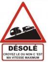 """Autocollant """"Désolé"""" Renault 4 R4 4L Fourgonnette + Caravane- 15 CM de haut"""