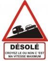 """Autocollant """"Désolé"""" Renault 4 R4 4L Berline + Caravane - 15 CM de haut"""