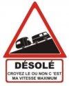 """Autocollant """"Désolé"""" Renault Estafette + Caravane - 25 CM de haut"""