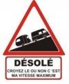 """Autocollant """"Désolé"""" Renault Estafette Rehaussée + Caravane - 25 CM de haut"""