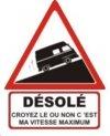 """Autocollant """"Désolé"""" Renault Estafette Rehaussée - 25 CM de haut"""