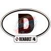 """Autocollant Renault R4 4L, largeur 14cm, pays Allemagne """"D""""."""