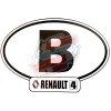 """Autocollant Renault R4 4L, largeur 14cm, pays Belgique """"B""""."""