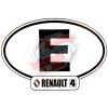 """Autocollant Renault R4 4L, largeur 14cm, pays Espagne """"E""""."""
