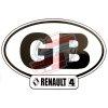 """Autocollant Renault R4 4L, largeur 14cm, pays Royaume Uni """"GB""""."""