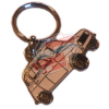 Keychain Renault R4 4L motif in profile. White color.