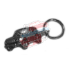 Keychain Renault R4 4L motif in silver relief.