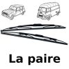 Pair of wipers for Renault R4 4L or Renault Estafette. Brand VALEO.